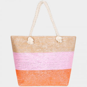 Color block glitter beach tote - orange