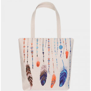 Eco canvas shopper bag - feather