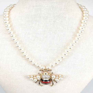 [2pcs] Queen Bee Pearl Necklace - gold