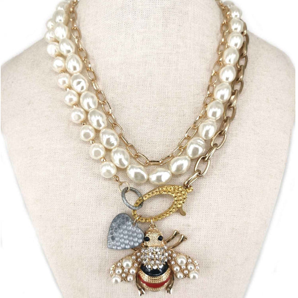 [2pcs] Queen Bee Pearl & Chain necklace set - gold