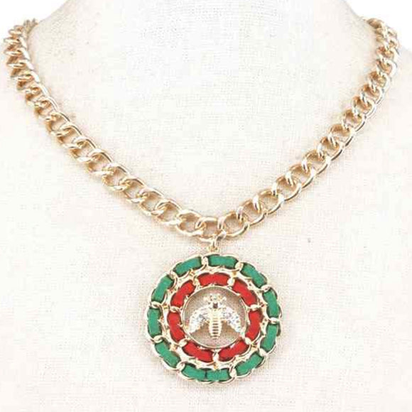 [2pcs] Queen Bee Chain necklace set - green red