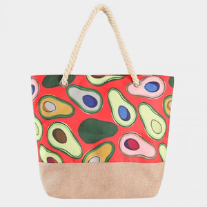 Avocado print beach tote - red