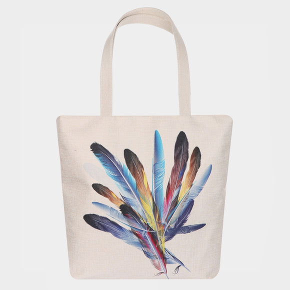 Colorful feather beach tote  - multi