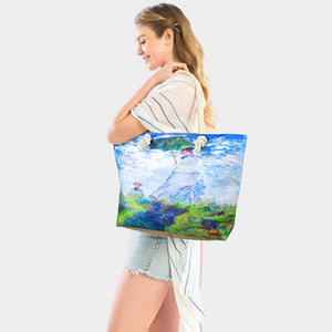 Women with a prasol by Money print beach tote  - blue