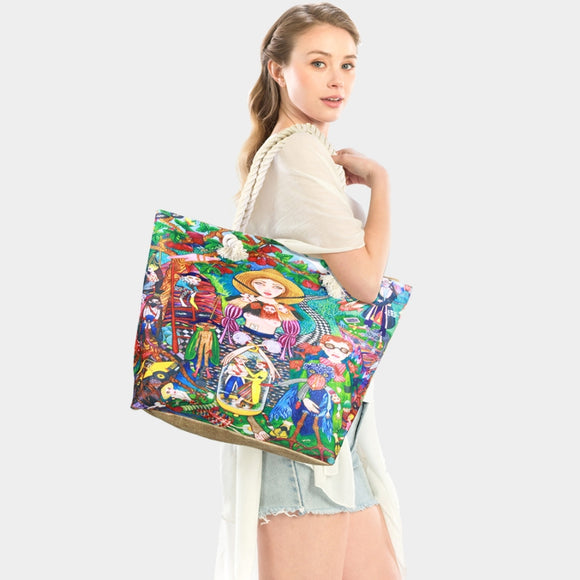 Psychedelic future imaginary painting beach tote  - multi