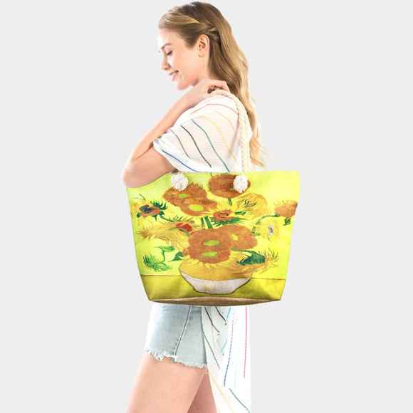 Sunflower by Vincent Van Gogh beach tote  - yellow