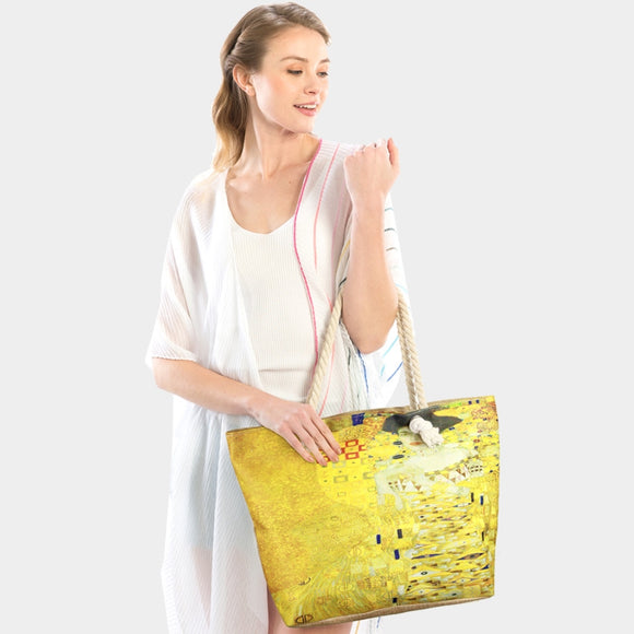 Portrait of Adele Bloch Bauer by Gustav Klimt print beach tote  - yellow