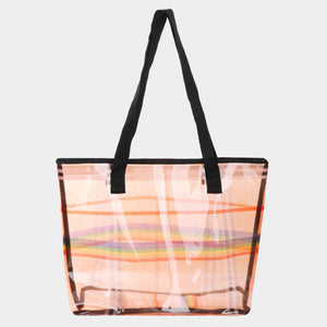 Clear tote beach bag - multi