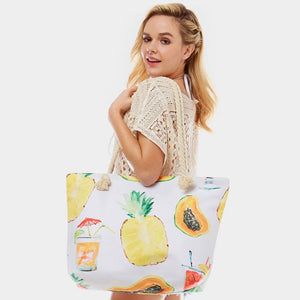 Summer fruit print beach tote - white