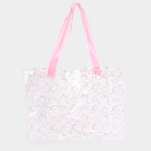 Unicorn clear beach tote - pink