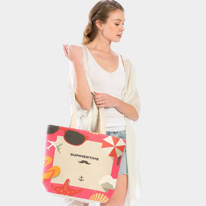 'SUMMER TIME' Anchor Sea Life beach tote - Pink
