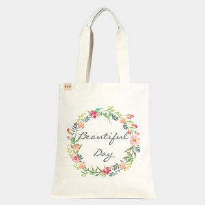 'Beautiful Day' Cotton Canvas tote - ivory