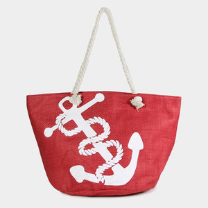 Nautical print beach tote - red