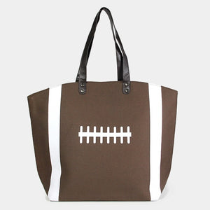 Football canvas tote - brown