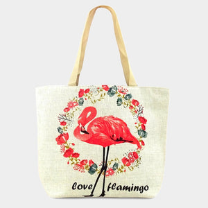 Floral Flamingo beach tote - ivory
