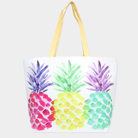 Colorful pineapple beach tote - multi
