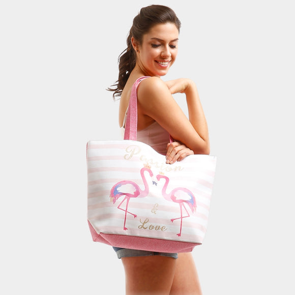 'Passion & Love' Flamingo beach tote - pink