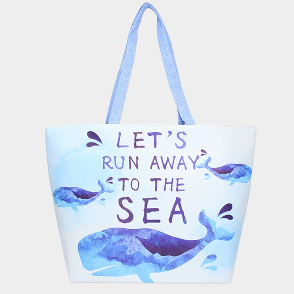 'LET'S RUN AWAY TO THE SEA' beach tote - blue