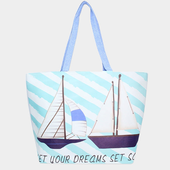 'LET YOUR DREAMS SET SAIL' beach tote - blue