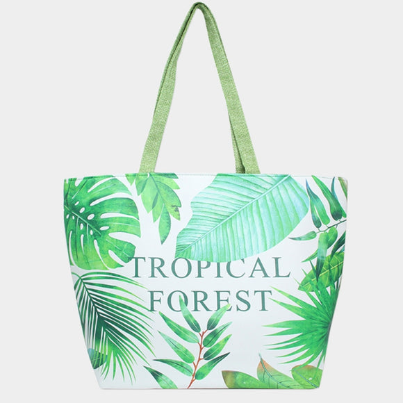'TROPICAL FOREST' beach tote - green
