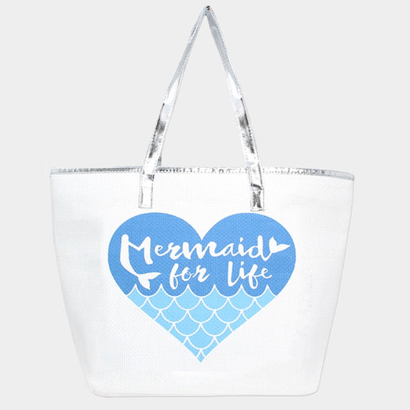 'Mermaid Sea Life' beach tote - blue
