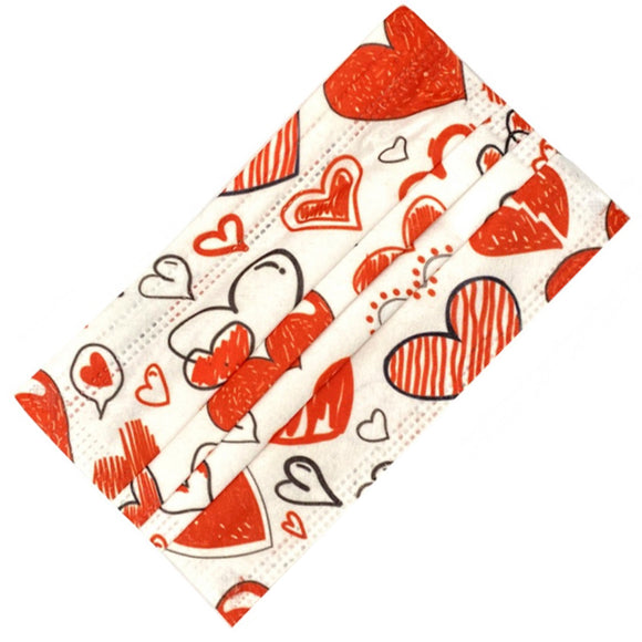 [50 PC] Valentine Love 3ply mask - red