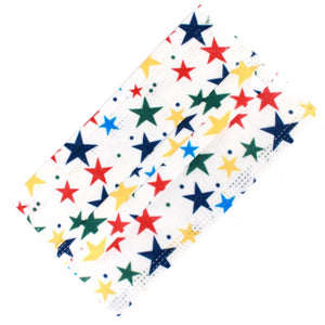 [50 PC] Multi color star 3ply mask - white