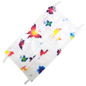 [50 PC] Colorful Butterfly 3ply mask - white
