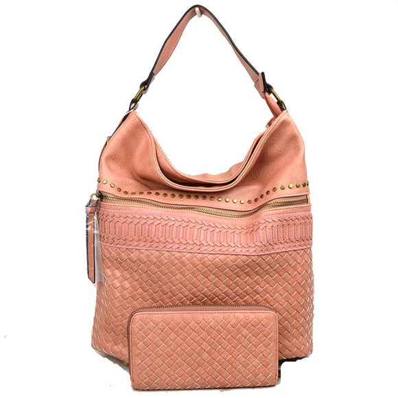 Stud & Weaving hobo bag with wallet - blush