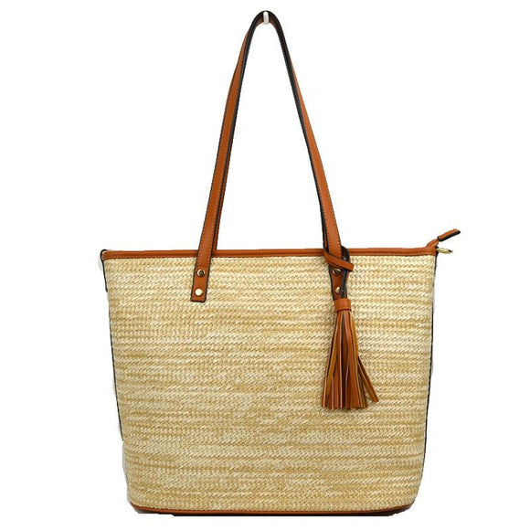 Straw & tassel tote - taupe