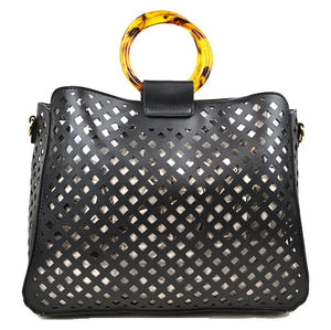 Laser cut tote with hard handle with pouch - black
