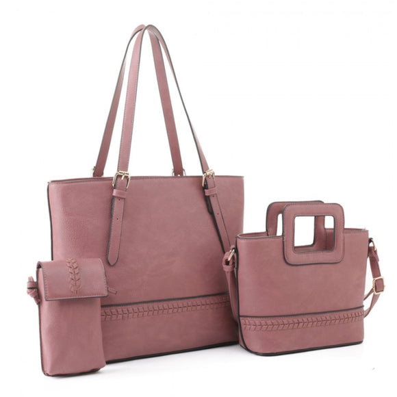 3 in 1 Fashion handbag set - mauve