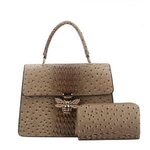 Crocodile pattern with queen bee handbag - taupe