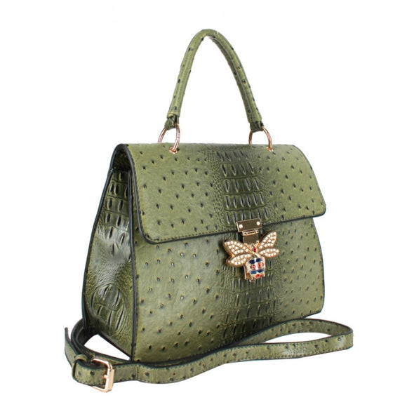 Crocodile pattern with queen bee handbag - olive