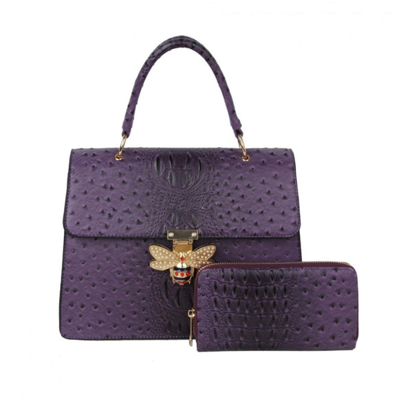 Crocodile pattern with queen bee handbag - purple