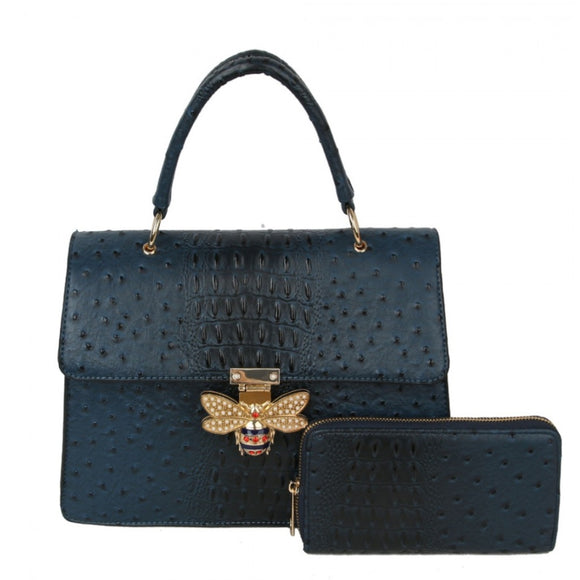 Crocodile pattern with queen bee handbag - blue
