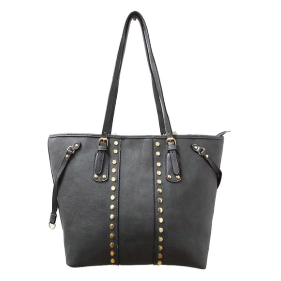 Studed fashion tote - grey