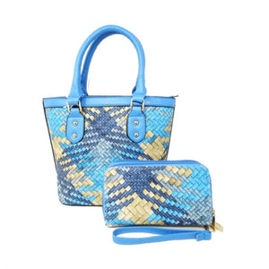 Woven crossbody bag with wallet - blue