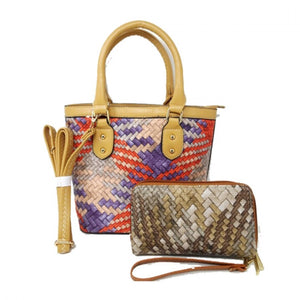 Woven crossbody bag with wallet - apricot