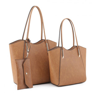 Double shopper tote - caramel