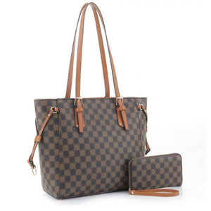 Monogram tote with purse - brown coffee