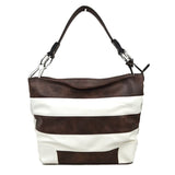 Stripe fashion hobo bag - coffee white