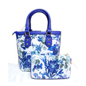 Floral print small satchel - blue