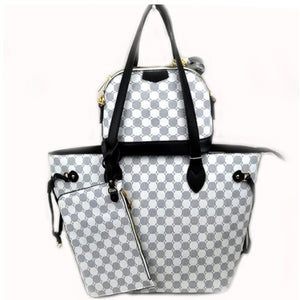 3 in 1 monogram tote set - black white