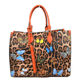 Leopard butterfly print tote with wallet - orange