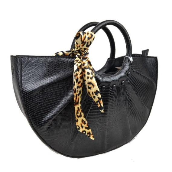 Snake embossed half moon bag - black
