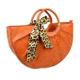 Snake embossed half moon bag - brown