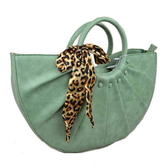 Snake embossed half moon bag - mint