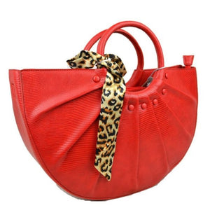 Snake embossed half moon bag - red