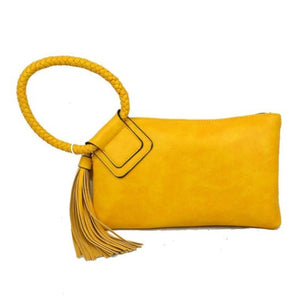 Bangle wristlet with tassel - yellow